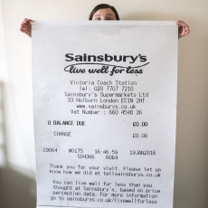 Enlarged receipt for buying nothing