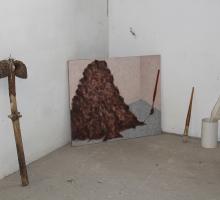 Michael Phillipson studio corner with 'studio corner pile'